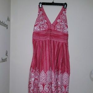 Robbie Bee size 14 red & white halter print dress